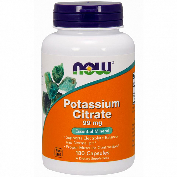 NOW Potassium Citrate (калия цитрат) 99 мг. 180 кап.